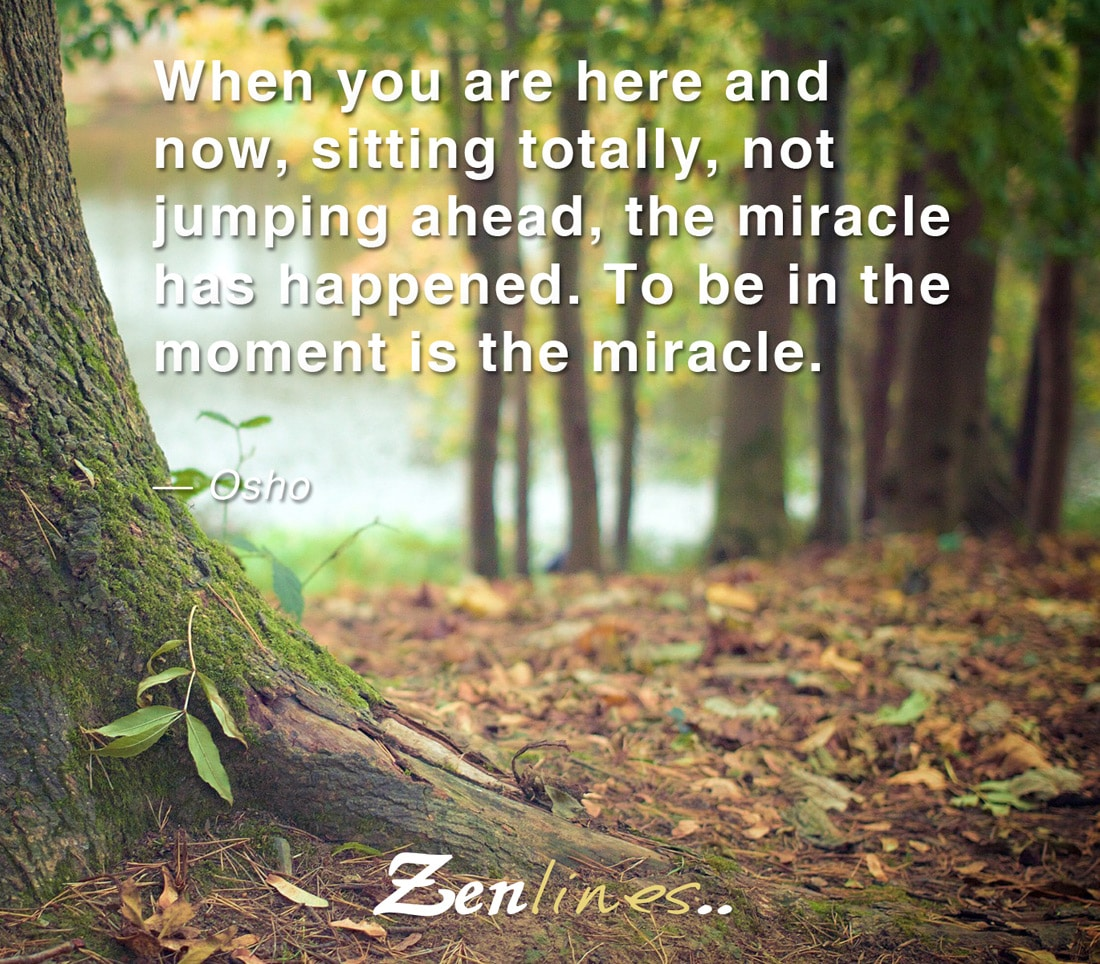 When you are here and now, sitting totally, not jumping ahead, the miracle has happened. To be in the moment is the miracle. — Osho