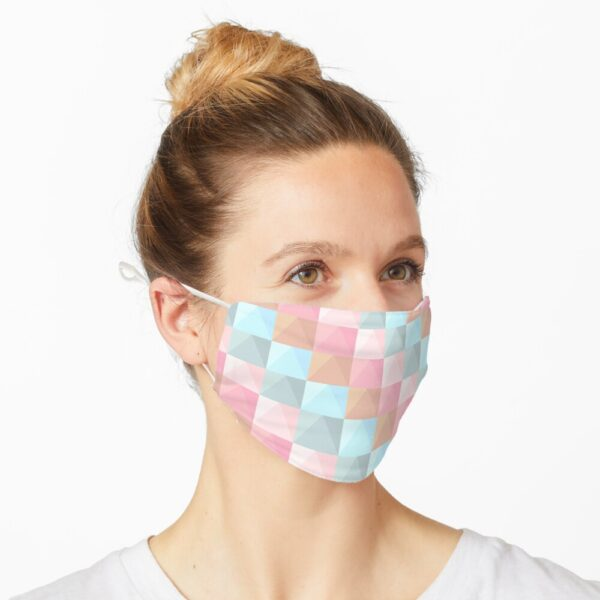 Abstract Tie Dye Pastel Geometric Rectangles Pattern Mask