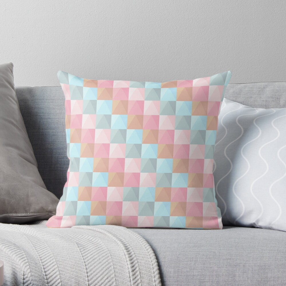Abstract Tie Dye Pastel Geometric Rectangles Pattern Throw Pillow